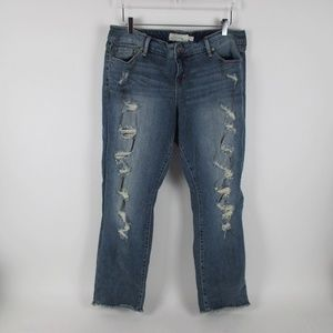 Torrid Destroyed Boyfriend Jeans Frayed Hems